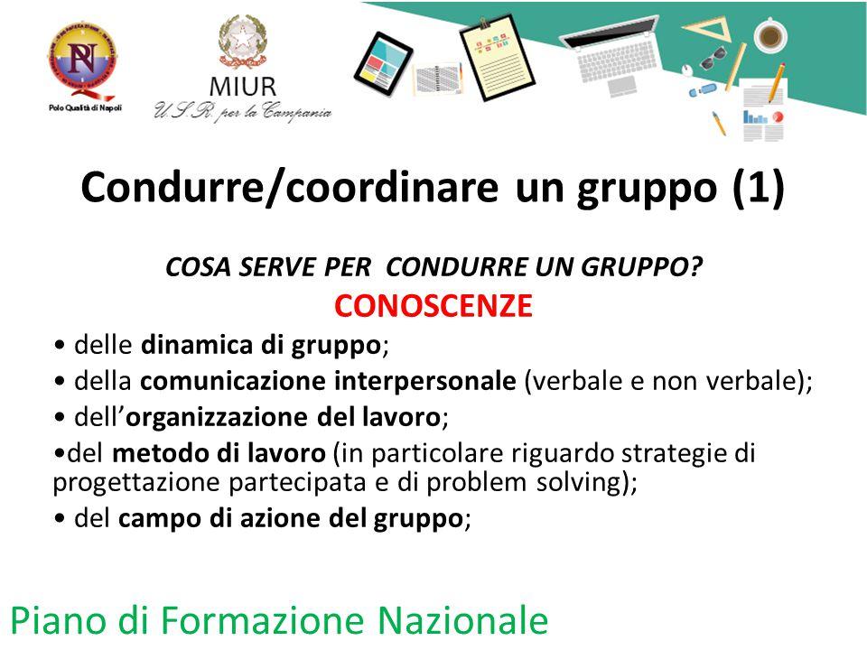 Condurre/coordinare un gruppo (1) COSA SERVE PER CONDURRE UN GRUPPO? CONOSCENZE delle dinamica di gruppo; della comunicazione interpersonale (verbale