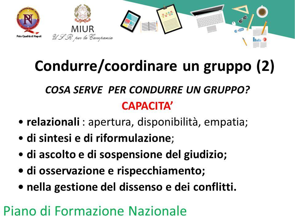 Condurre/coordinare un gruppo (2) COSA SERVE PER CONDURRE UN GRUPPO? CAPACITA' relazionali : apertura, disponibilità, empatia; di sintesi e di riformu