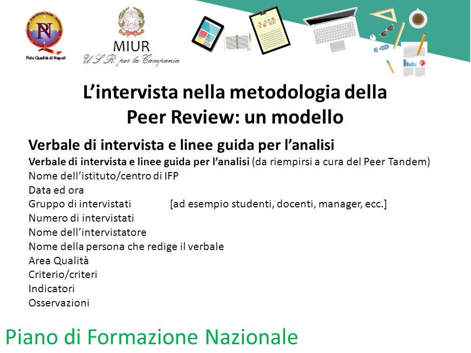 L'intervista nella metodologia della Peer Review: un modello Verbale di intervista e linee guida per l'analisi Verbale di intervista e linee guida per