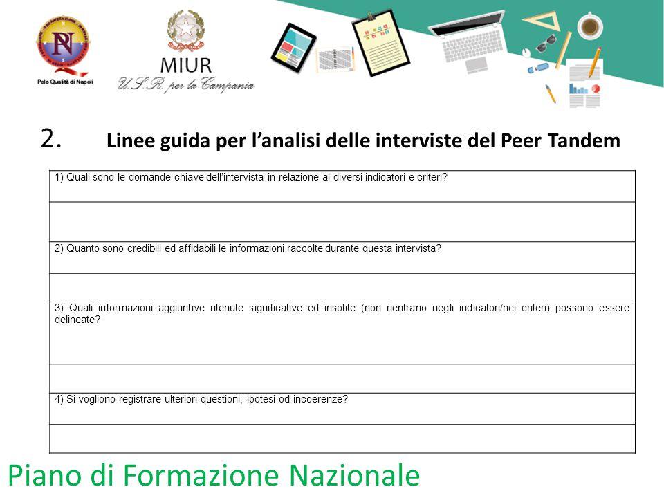 2. Linee guida per l'analisi delle interviste del Peer Tandem 1) Quali sono le domande-chiave dell'intervista in relazione ai diversi indicatori e cri