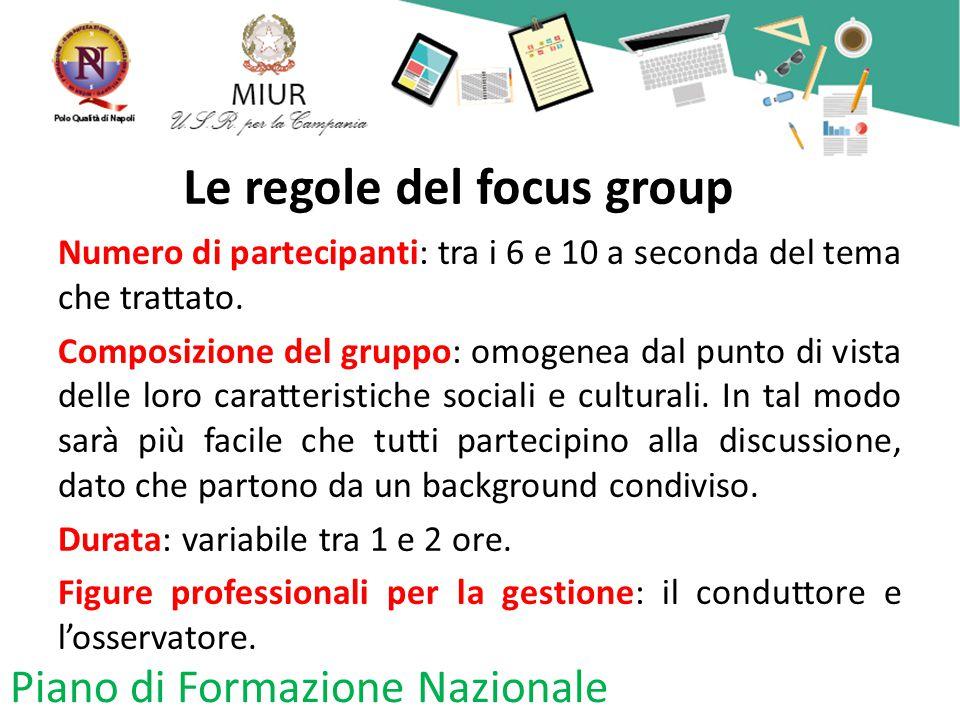 Le regole del focus group Numero di partecipanti: tra i 6 e 10 a seconda del tema che trattato. Composizione del gruppo: omogenea dal punto di vista d