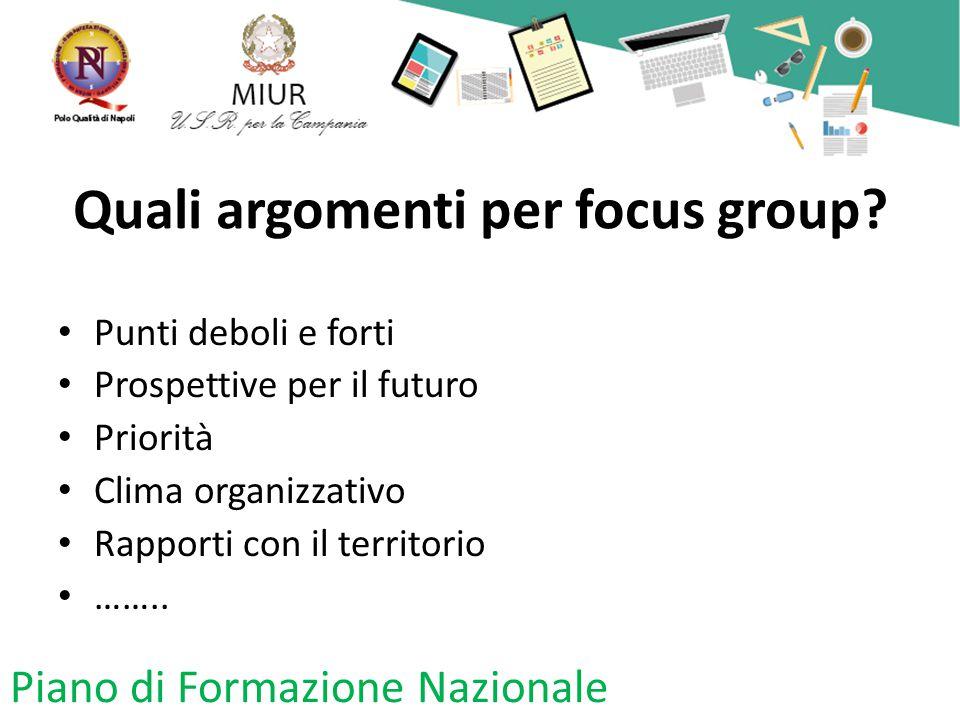 Quali argomenti per focus group.