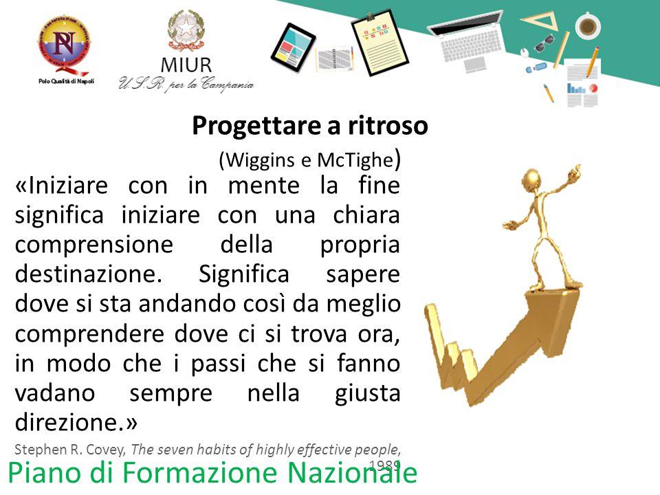 Progettare a ritroso (Wiggins e McTighe ) «Iniziare con in mente la fine significa iniziare con una chiara comprensione della propria destinazione. Si