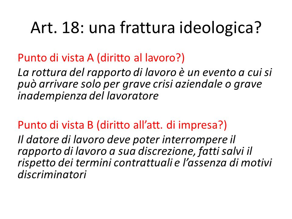 Art. 18: una frattura ideologica.