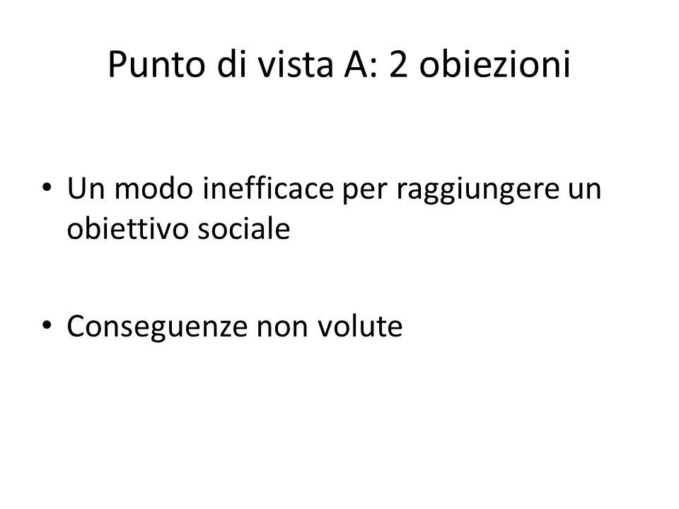 Punto di vista A: 2 obiezioni Un modo inefficace per raggiungere un obiettivo sociale Conseguenze non volute