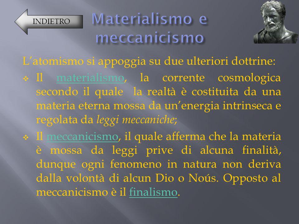 L'atomismo si appoggia su due ulteriori dottrine: IIl materialismo, la corrente cosmologica secondo il quale la realtà è costituita da una materia e