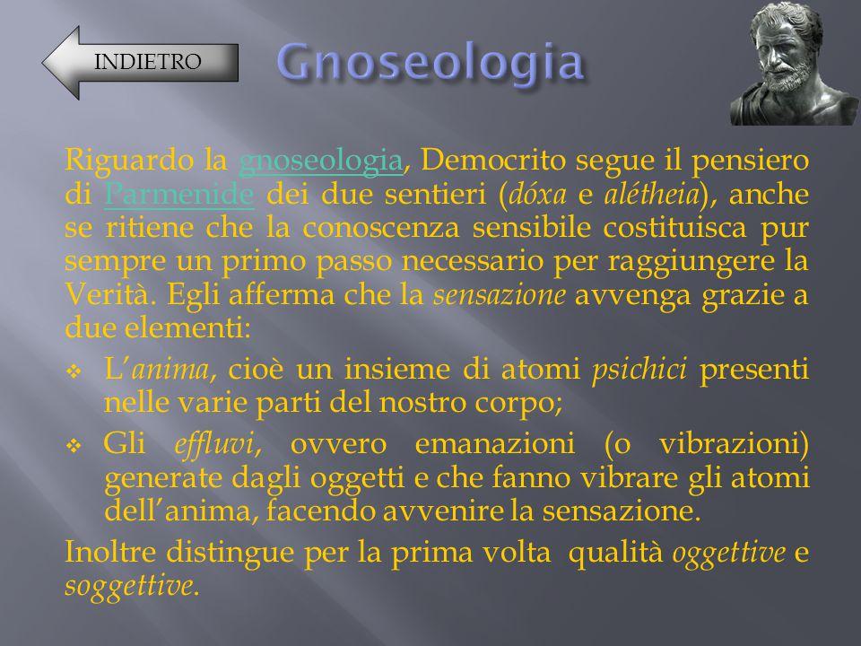 Riguardo la gnoseologia, Democrito segue il pensiero di Parmenide dei due sentieri ( dóxa e a létheia ), anche se ritiene che la conoscenza sensibile