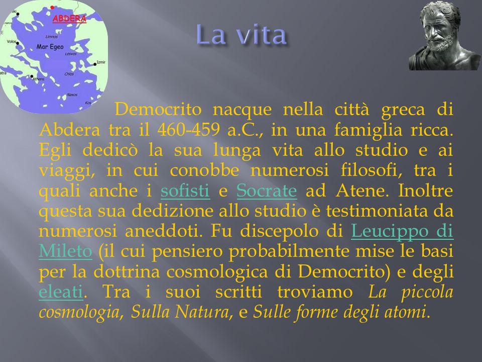 La corrente filosofica di cui Democrito fa parte è quella dei f isici pluralisti.