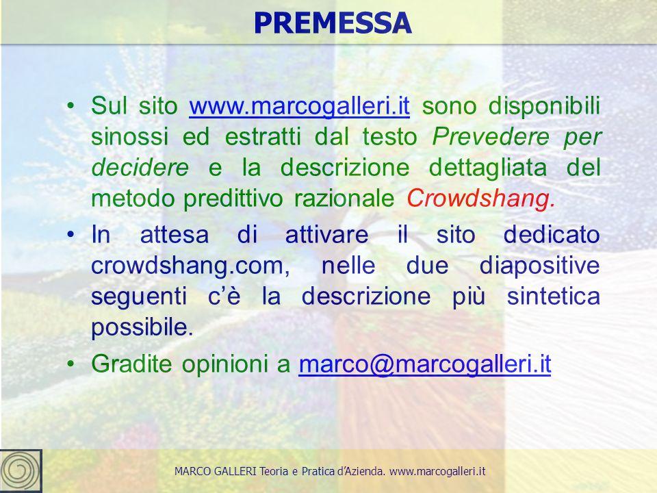2 Sul sito www.marcogalleri.it sono disponibili sinossi ed estratti dal testo Prevedere per decidere e la descrizione dettagliata del metodo predittiv