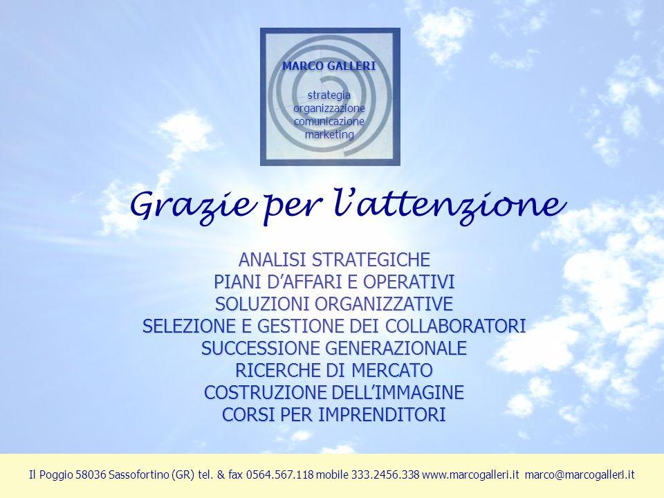 ANALISI STRATEGICHE PIANI D'AFFARI E OPERATIVI SOLUZIONI ORGANIZZATIVE SELEZIONE E GESTIONE DEI COLLABORATORI SUCCESSIONE GENERAZIONALE RICERCHE DI MERCATO COSTRUZIONE DELL'IMMAGINE CORSI PER IMPRENDITORI MARCO GALLERI strategia organizzazione comunicazione marketing MARCO GALLERI strategia organizzazione comunicazione marketing Il Poggio 58036 Sassofortino (GR) tel.