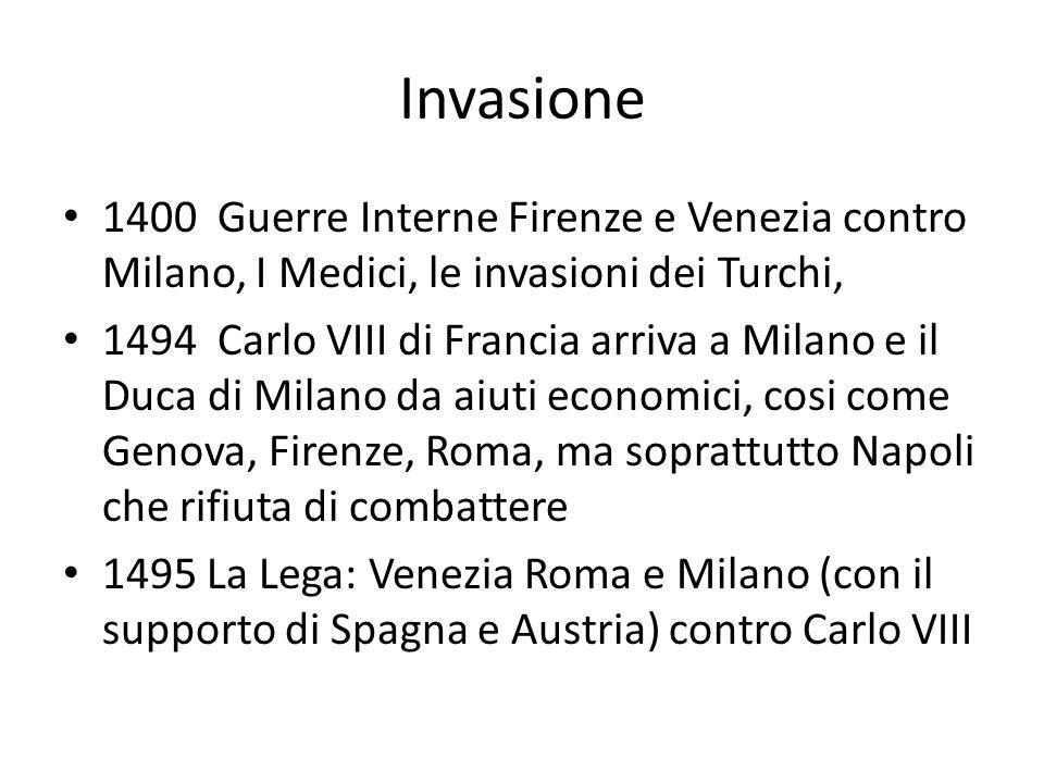 Invasione 1400 Guerre Interne Firenze e Venezia contro Milano, I Medici, le invasioni dei Turchi, 1494 Carlo VIII di Francia arriva a Milano e il Duca