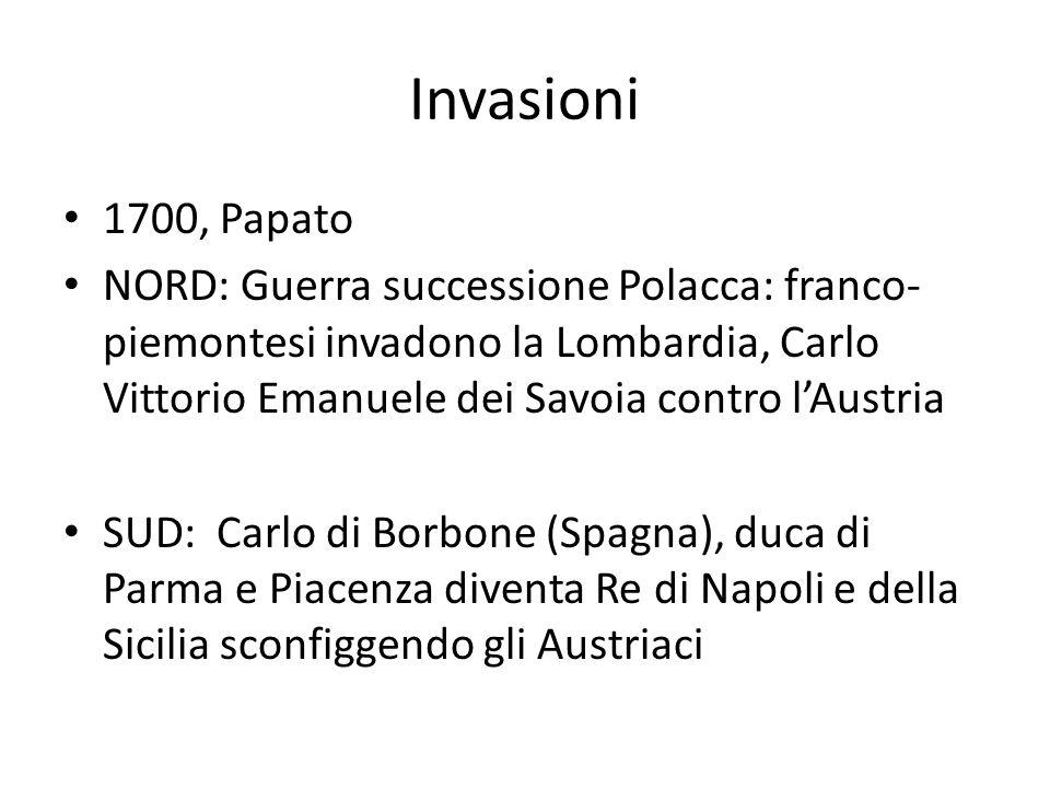 Invasioni 1700, Papato NORD: Guerra successione Polacca: franco- piemontesi invadono la Lombardia, Carlo Vittorio Emanuele dei Savoia contro l'Austria
