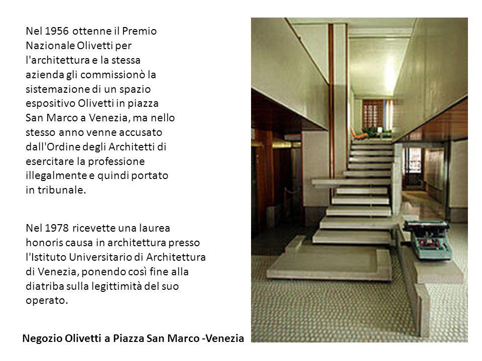 Nel 1956 ottenne il Premio Nazionale Olivetti per l'architettura e la stessa azienda gli commissionò la sistemazione di un spazio espositivo Olivetti