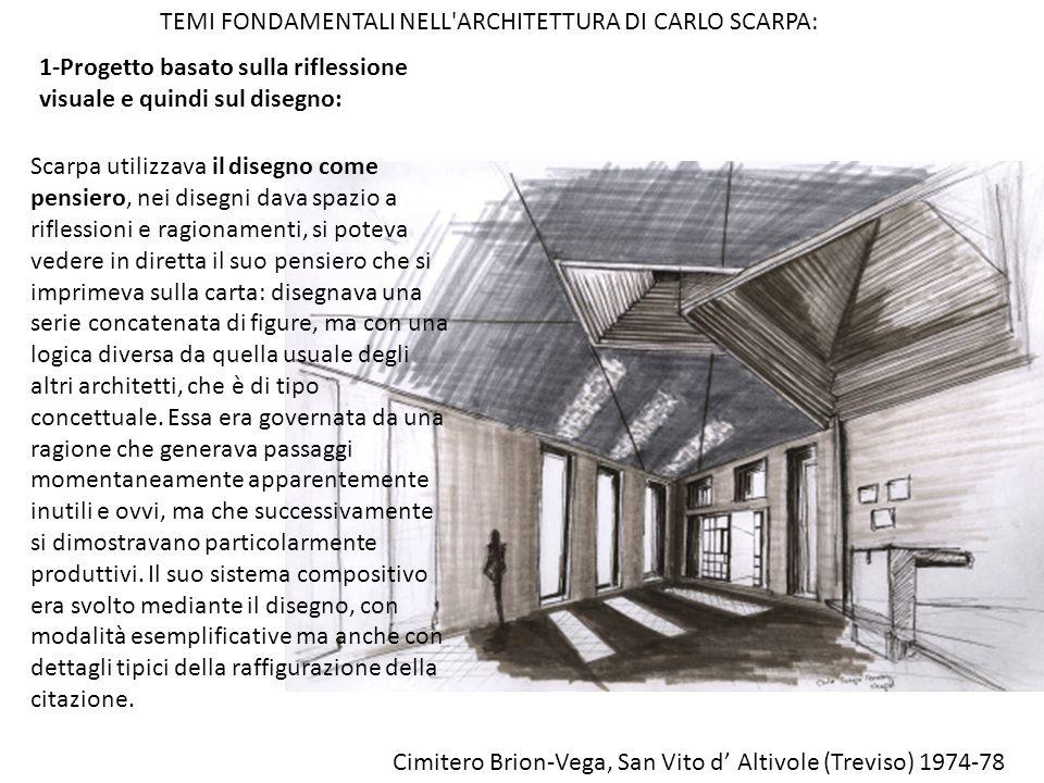 1-Progetto basato sulla riflessione visuale e quindi sul disegno: TEMI FONDAMENTALI NELL'ARCHITETTURA DI CARLO SCARPA: Scarpa utilizzava il disegno co