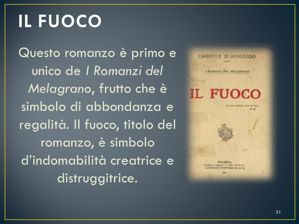 Il protagonista è Stelio Effrena, le vicende si svolgono a Venezia durante l'autunno.