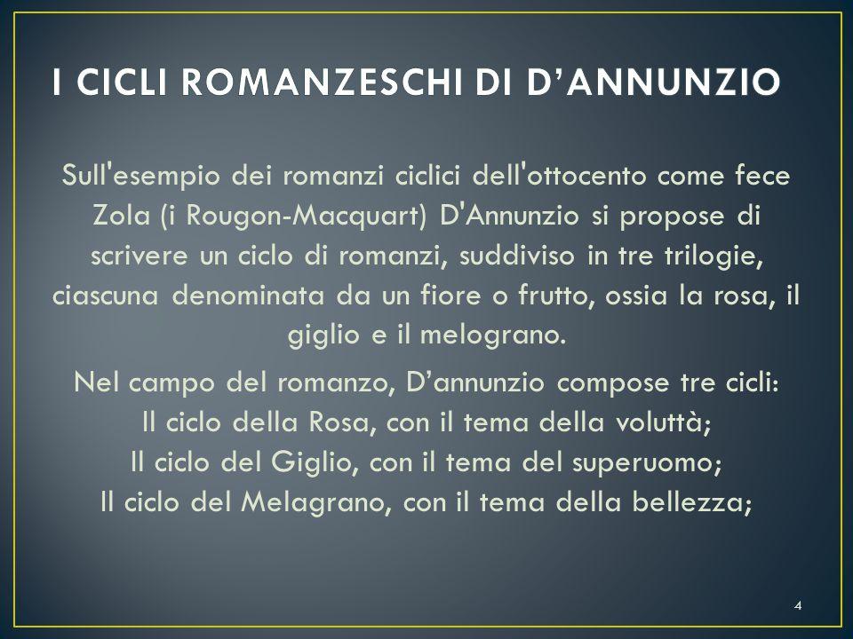 Nel 1889 D'Annunzio pubblicò il primo libro de I Romanzi della Rosa, ossia Il Piacere. 5