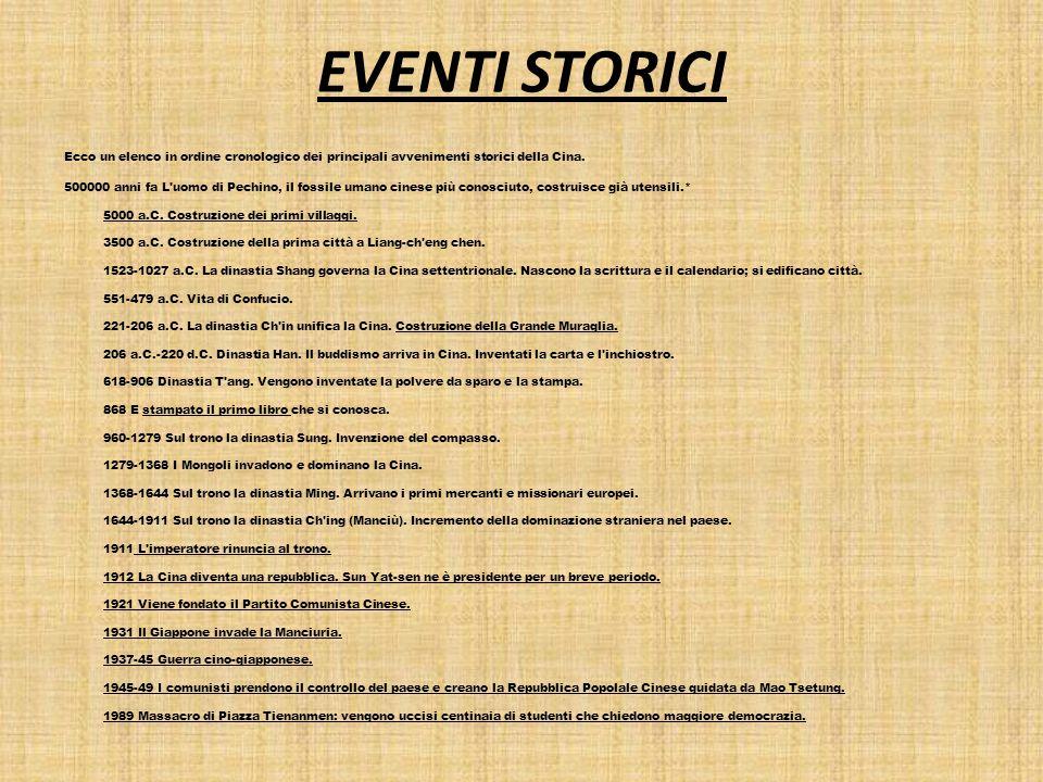 EVENTI STORICI Ecco un elenco in ordine cronologico dei principali avvenimenti storici della Cina. 500000 anni fa L'uomo di Pechino, il fossile umano