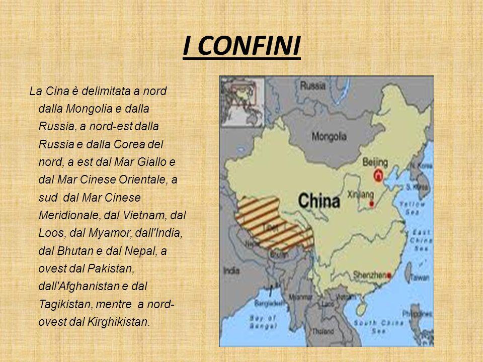 I CONFINI La Cina è delimitata a nord dalla Mongolia e dalla Russia, a nord-est dalla Russia e dalla Corea del nord, a est dal Mar Giallo e dal Mar Ci