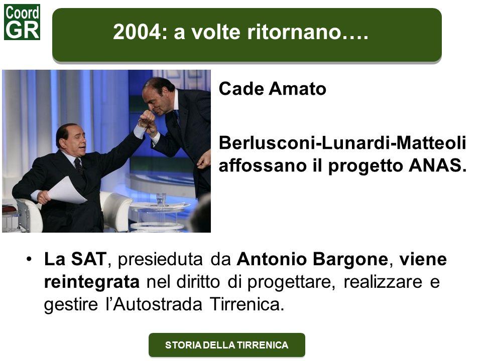 STORIA DELLA TIRRENICA Cade Amato Berlusconi-Lunardi-Matteoli affossano il progetto ANAS.