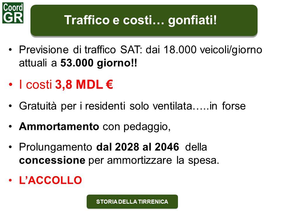 STORIA DELLA TIRRENICA Previsione di traffico SAT: dai 18.000 veicoli/giorno attuali a 53.000 giorno!.