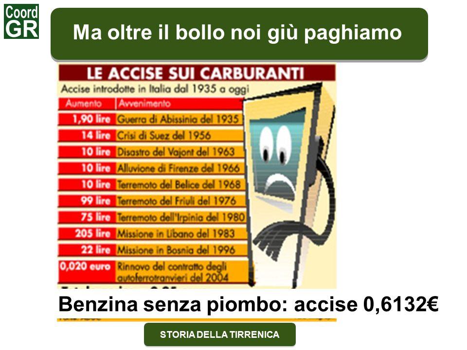 STORIA DELLA TIRRENICA Ma oltre il bollo noi giù paghiamo Benzina senza piombo: accise 0,6132€
