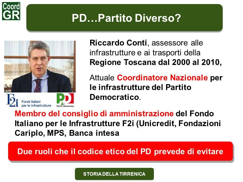 STORIA DELLA TIRRENICA Riccardo Conti, assessore alle infrastrutture e ai trasporti della Regione Toscana dal 2000 al 2010, Attuale Coordinatore Nazionale per le infrastrutture del Partito Democratico.