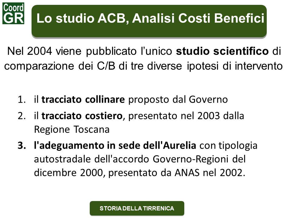 STORIA DELLA TIRRENICA Lo studio ACB, Analisi Costi Benefici Nel 2004 viene pubblicato l'unico studio scientifico di comparazione dei C/B di tre diverse ipotesi di intervento 1.il tracciato collinare proposto dal Governo 2.il tracciato costiero, presentato nel 2003 dalla Regione Toscana 3.l adeguamento in sede dell Aurelia con tipologia autostradale dell accordo Governo-Regioni del dicembre 2000, presentato da ANAS nel 2002.
