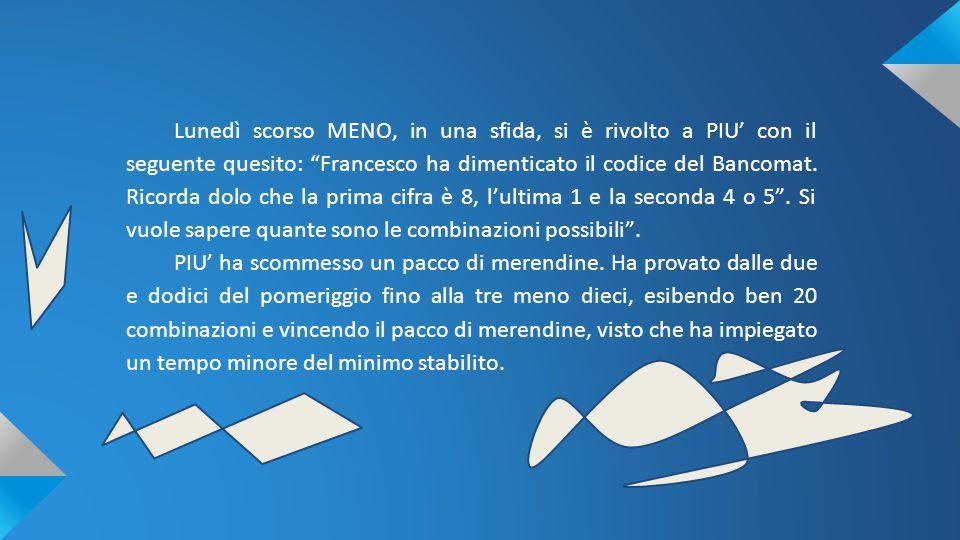 """Lunedì scorso MENO, in una sfida, si è rivolto a PIU' con il seguente quesito: """"Francesco ha dimenticato il codice del Bancomat. Ricorda dolo che la p"""