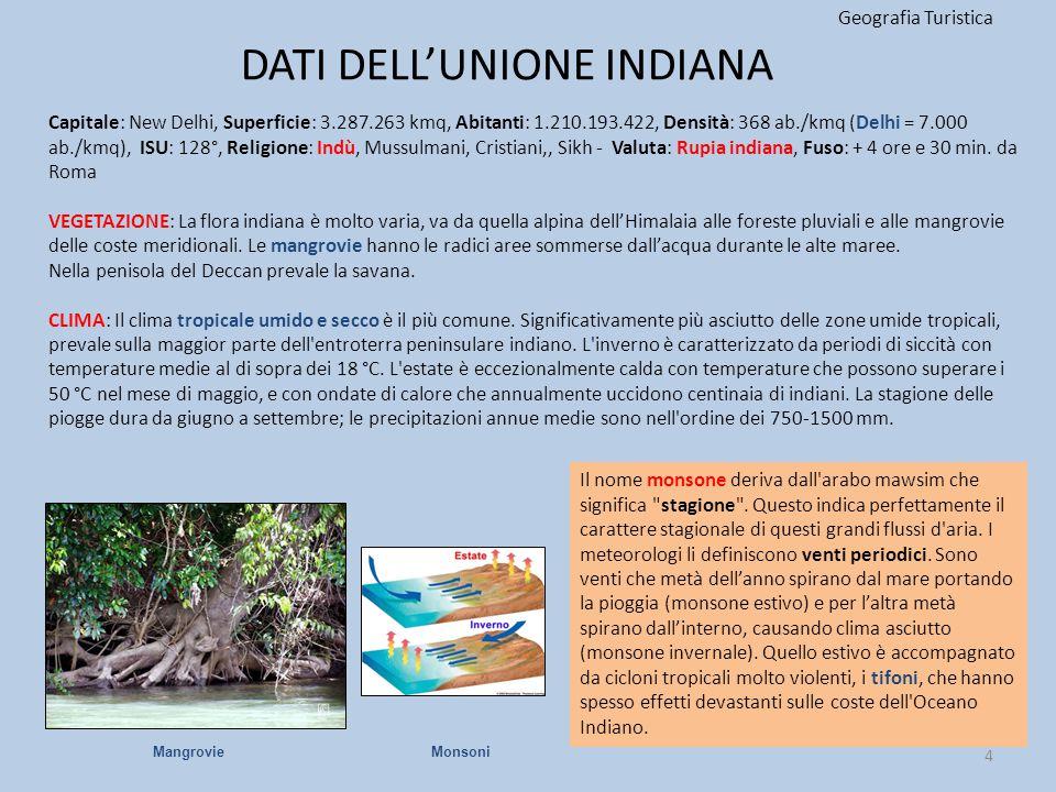 DATI DELL'UNIONE INDIANA Geografia Turistica 4 Capitale: New Delhi, Superficie: 3.287.263 kmq, Abitanti: 1.210.193.422, Densità: 368 ab./kmq (Delhi =