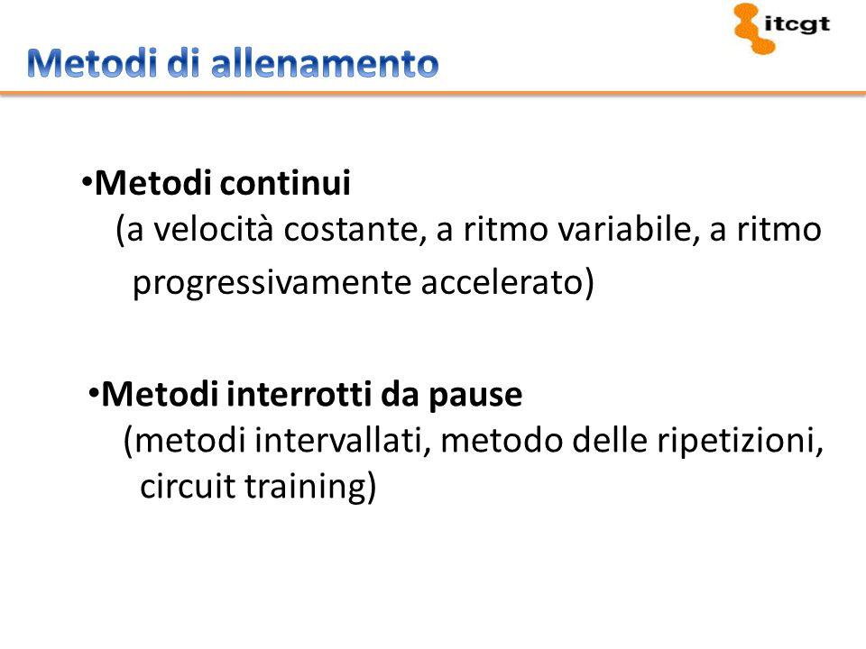 Metodi continui (a velocità costante, a ritmo variabile, a ritmo progressivamente accelerato) Metodi interrotti da pause (metodi intervallati, metodo delle ripetizioni, circuit training)