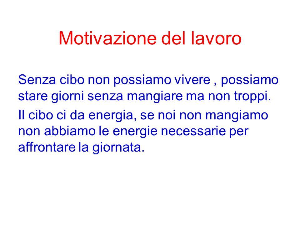 Motivazione del lavoro Senza cibo non possiamo vivere, possiamo stare giorni senza mangiare ma non troppi.