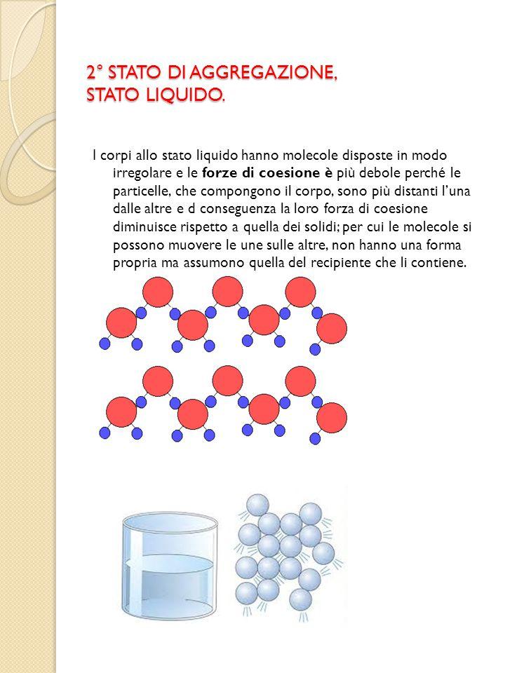 2° STATO DI AGGREGAZIONE, STATO LIQUIDO. I corpi allo stato liquido hanno molecole disposte in modo irregolare e le forze di coesione è più debole per