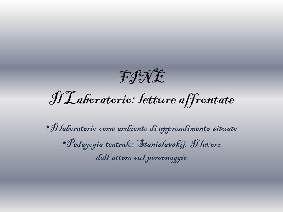 FINE Il Laboratorio: letture affrontate Il laboratorio come ambiente di apprendimento situato Pedagogia teatrale: Stanislavskij, Il lavoro dell'attore