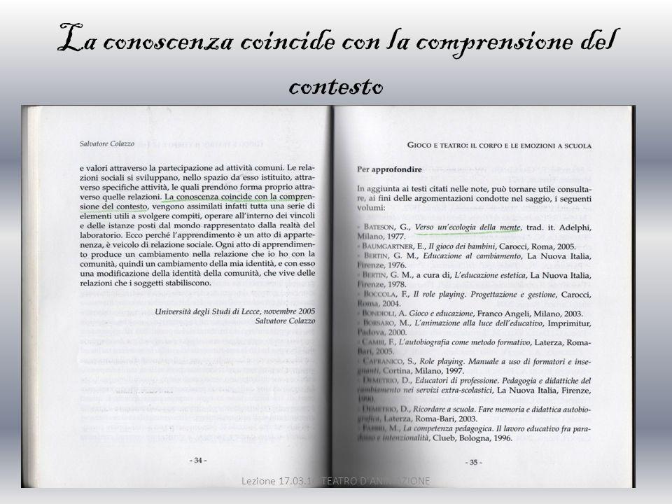 La conoscenza coincide con la comprensione del contesto Lezione 17.03.10 TEATRO D'ANIMAZIONE