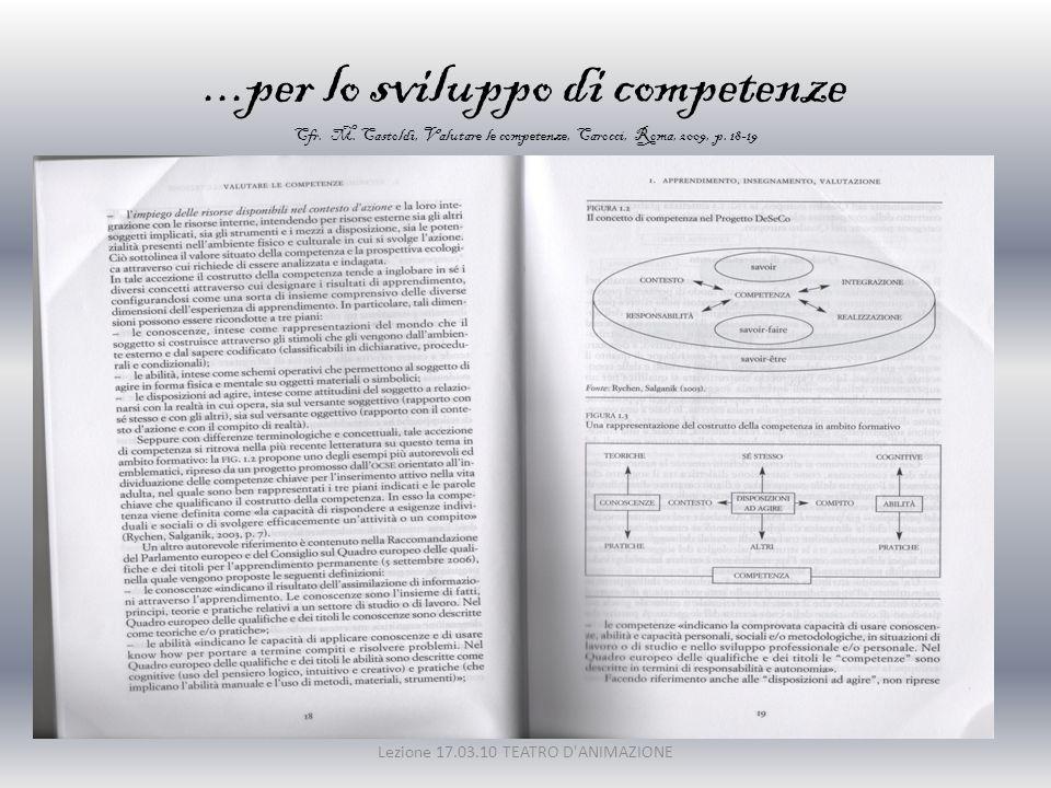 ...per lo sviluppo di competenze Cfr. M. Castoldi, Valutare le competenze, Carocci, Roma, 2009, p. 18-19 Lezione 17.03.10 TEATRO D'ANIMAZIONE