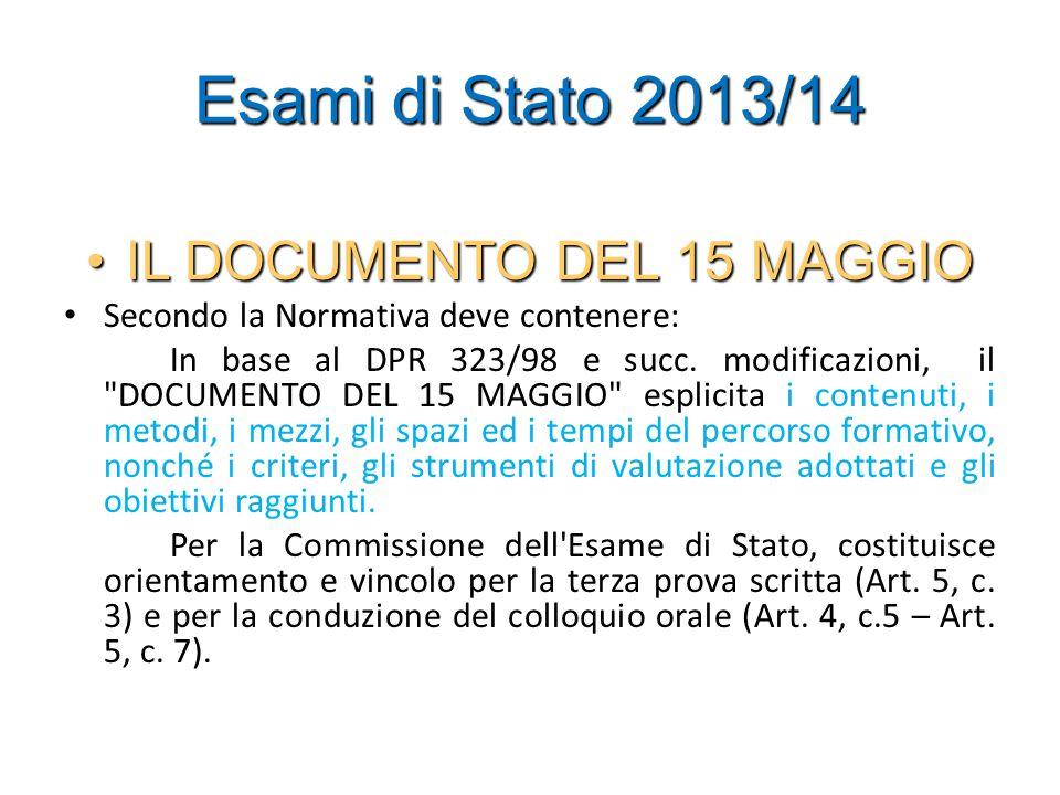 Esami di Stato 2013/14 IL DOCUMENTO DEL 15 MAGGIOIL DOCUMENTO DEL 15 MAGGIO Secondo la Normativa deve contenere: In base al DPR 323/98 e succ.