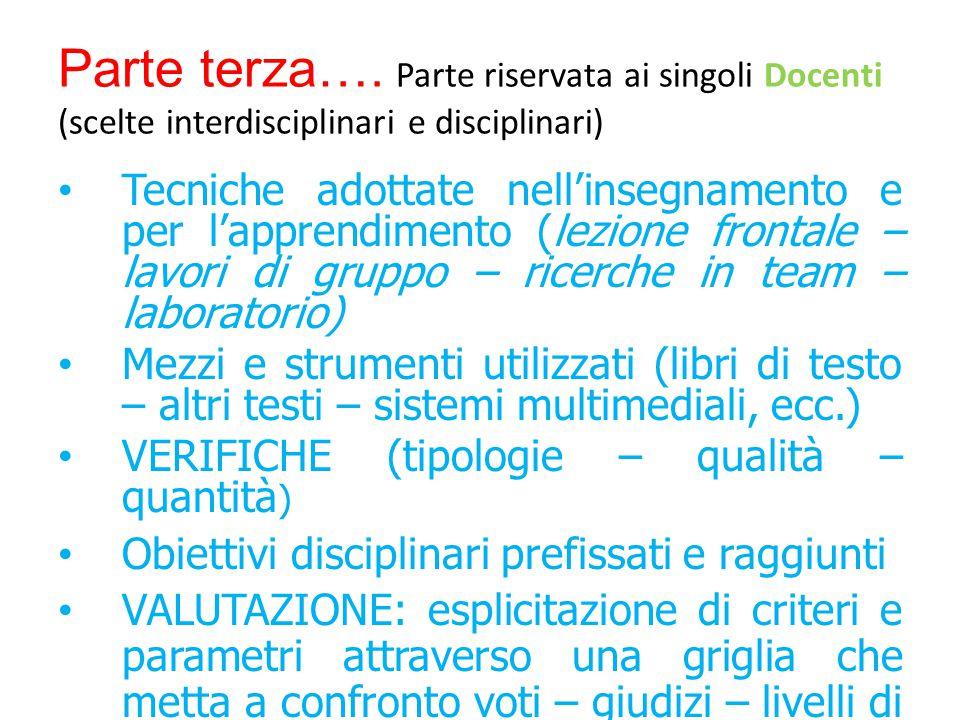 Parte riservata ai singoli Docenti (scelte interdisciplinari e disciplinari) Parte terza….