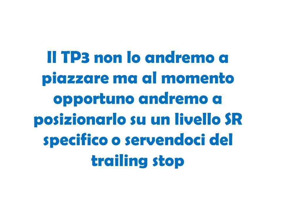 Il TP3 non lo andremo a piazzare ma al momento opportuno andremo a posizionarlo su un livello SR specifico o servendoci del trailing stop