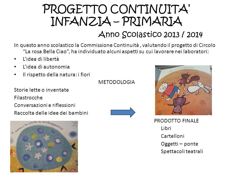PROGETTO CONTINUITA' INFANZIA – PRIMARIA Anno Scolastico 2013 / 2014 In questo anno scolastico la Commissione Continuità, valutando il progetto di Cir