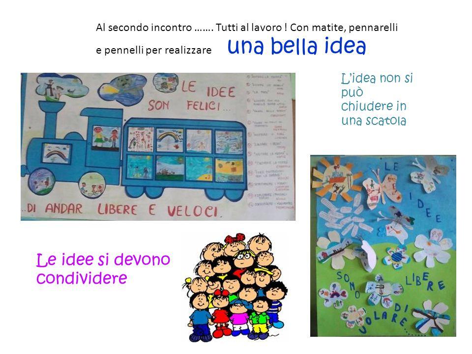 Al secondo incontro ……. Tutti al lavoro ! Con matite, pennarelli e pennelli per realizzare una bella idea L'idea non si può chiudere in una scatola Le