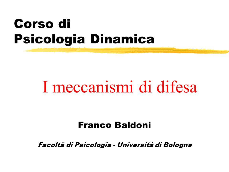 Corso di Psicologia Dinamica Franco Baldoni Facoltà di Psicologia - Università di Bologna I meccanismi di difesa