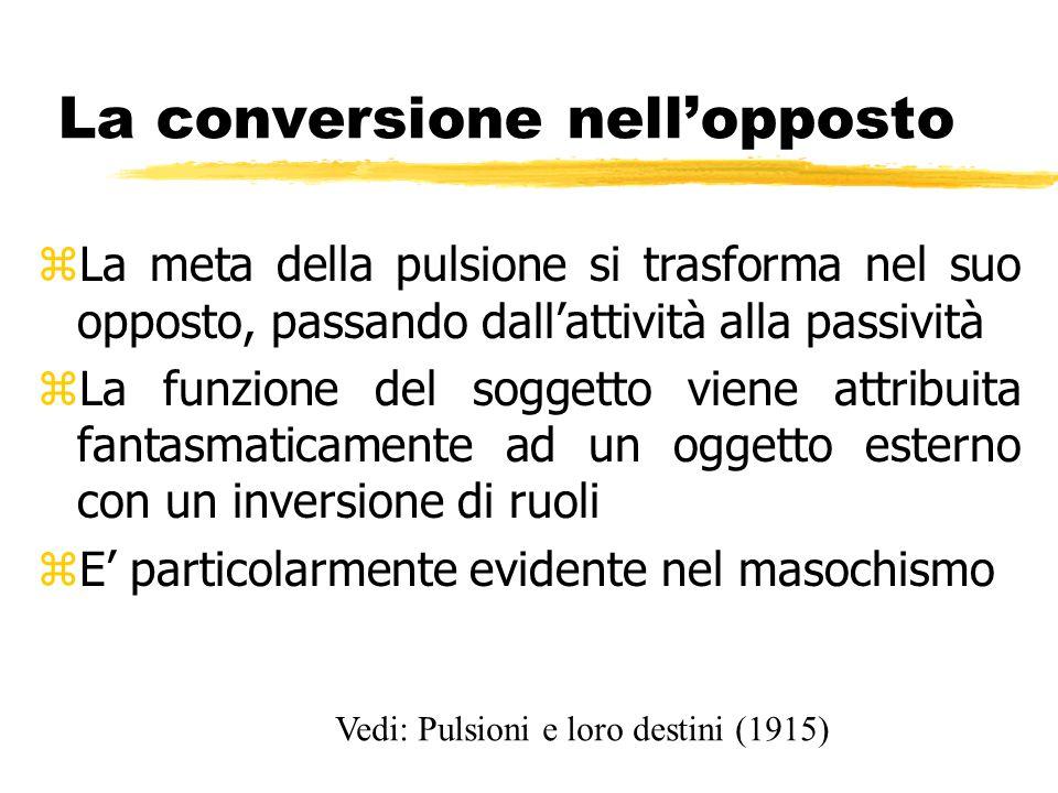 La conversione nell'opposto zLa meta della pulsione si trasforma nel suo opposto, passando dall'attività alla passività zLa funzione del soggetto vien