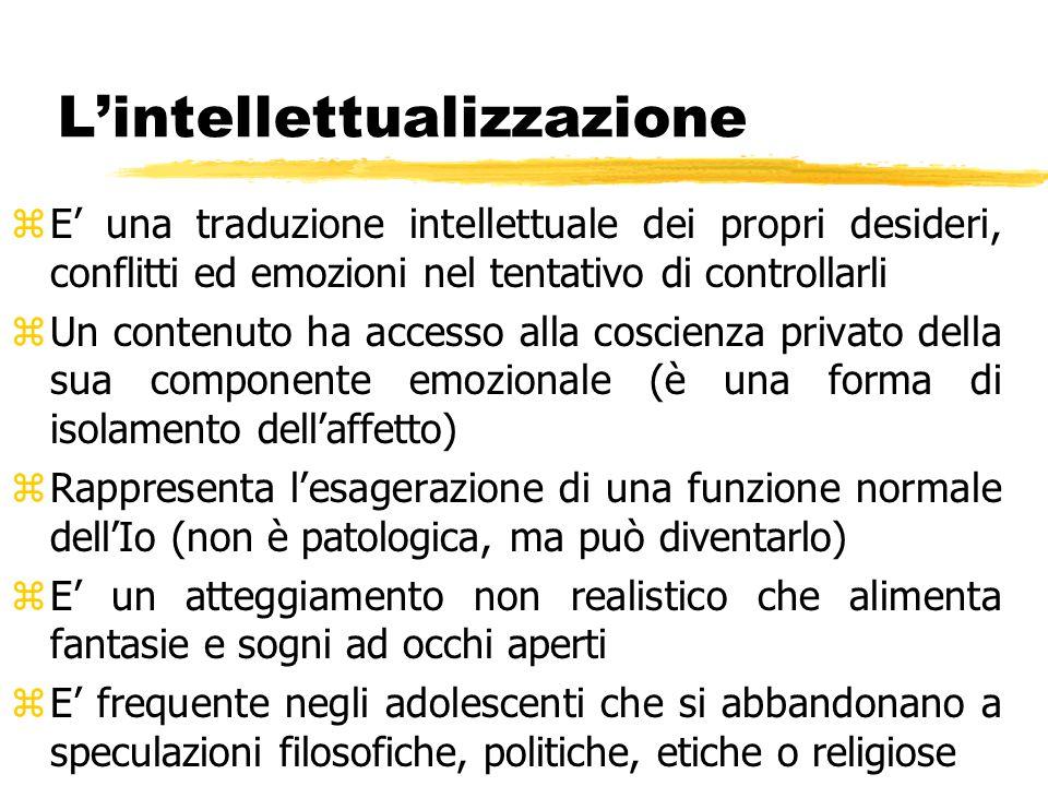 L'intellettualizzazione zE' una traduzione intellettuale dei propri desideri, conflitti ed emozioni nel tentativo di controllarli zUn contenuto ha acc