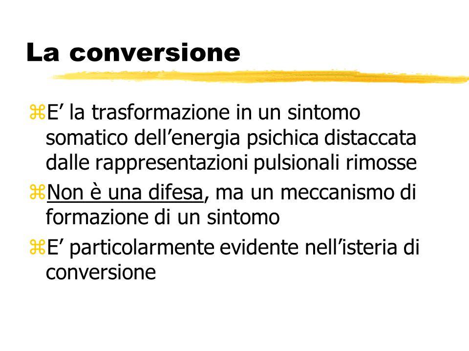La conversione zE' la trasformazione in un sintomo somatico dell'energia psichica distaccata dalle rappresentazioni pulsionali rimosse zNon è una dife
