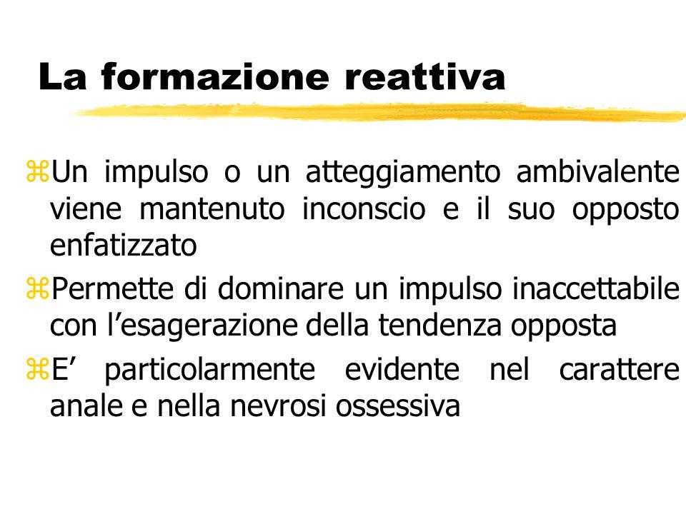 La formazione reattiva zUn impulso o un atteggiamento ambivalente viene mantenuto inconscio e il suo opposto enfatizzato zPermette di dominare un impu