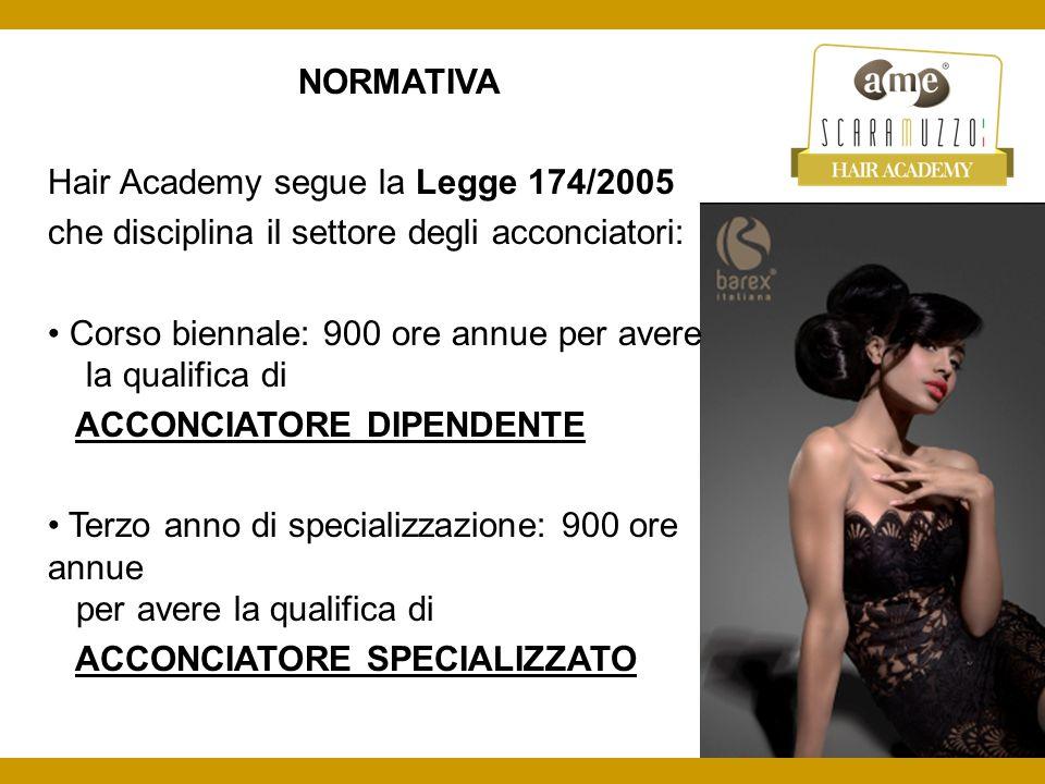 NORMATIVA Hair Academy segue la Legge 174/2005 che disciplina il settore degli acconciatori: Corso biennale: 900 ore annue per avere la qualifica di A