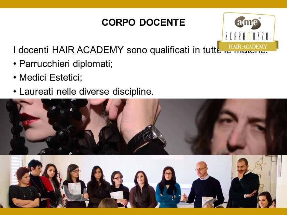 CORPO DOCENTE I docenti HAIR ACADEMY sono qualificati in tutte le materie: Parrucchieri diplomati; Medici Estetici; Laureati nelle diverse discipline.