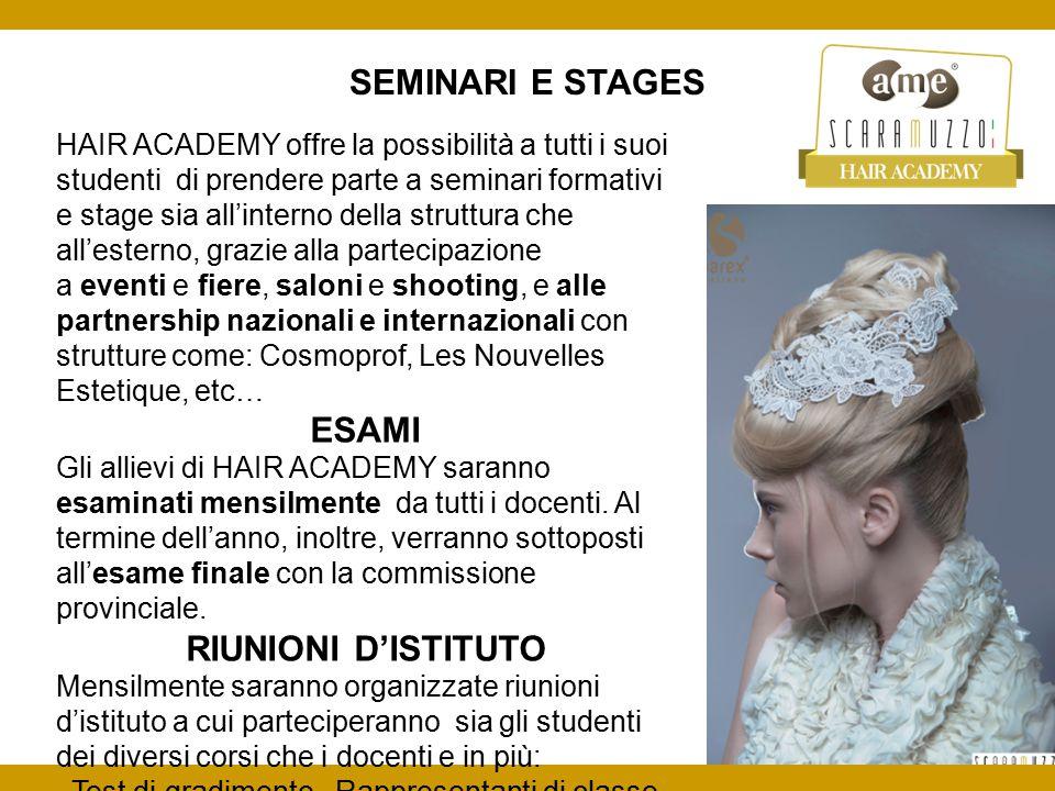 SEMINARI E STAGES HAIR ACADEMY offre la possibilità a tutti i suoi studenti di prendere parte a seminari formativi e stage sia all'interno della strut
