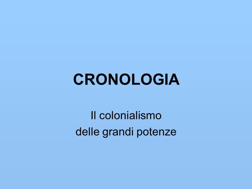 CRONOLOGIA Il colonialismo delle grandi potenze