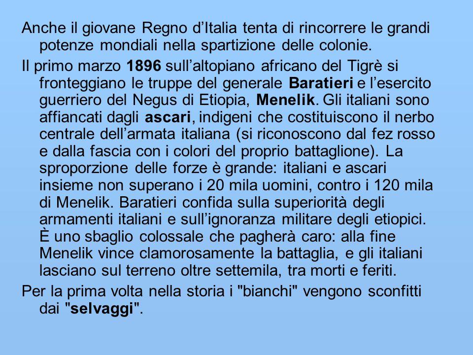 Anche il giovane Regno d'Italia tenta di rincorrere le grandi potenze mondiali nella spartizione delle colonie. Il primo marzo 1896 sull'altopiano afr